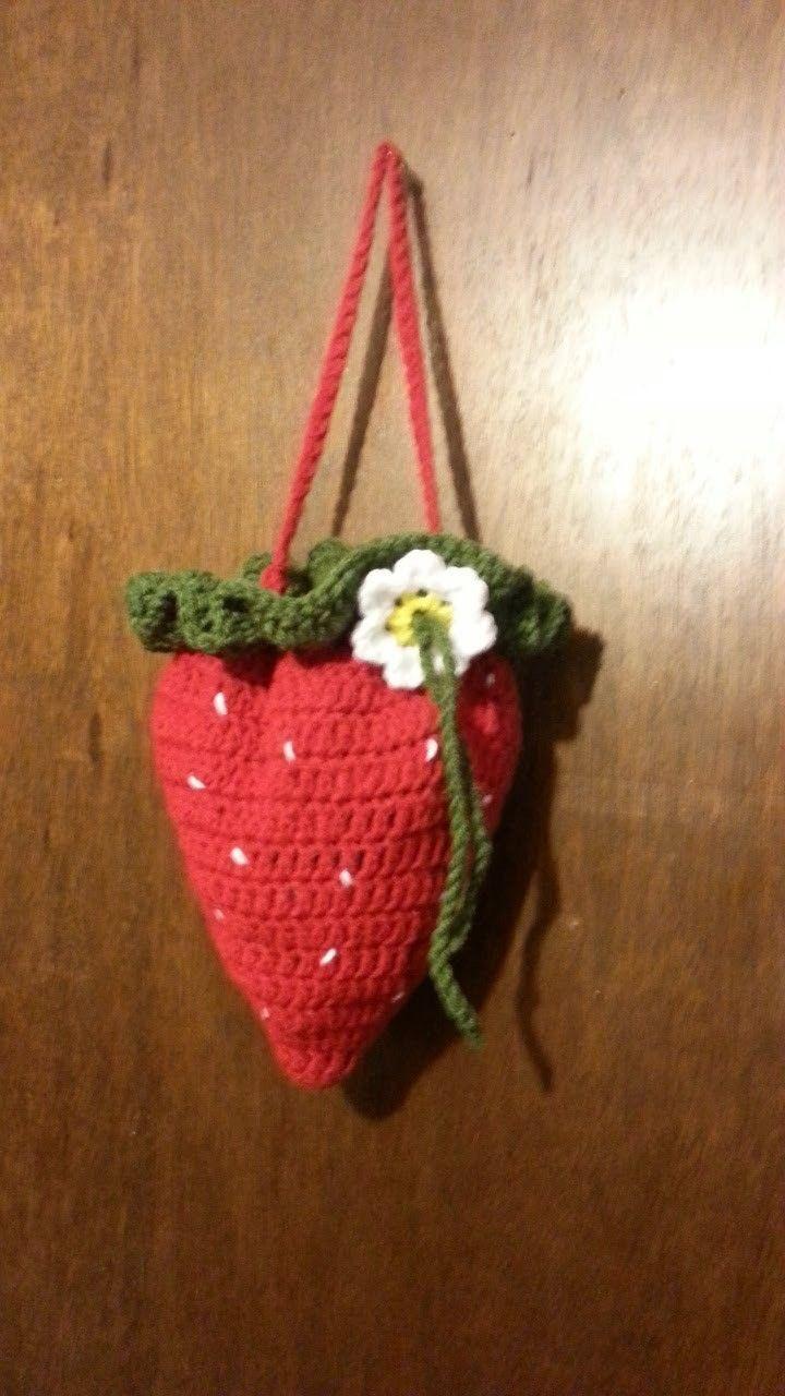 #Crochet Strawberry #handbag #purse #TUTORIAL