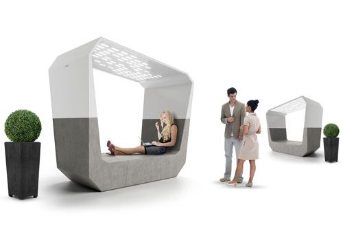 It looks like outdoor lounging just got a lot more fun with the Aster urban lounger by Emo Design for Neri. The concrete modules come equipped with Wi-fi and an integrated speaker system to play music through while laying back and looking at the stars through the glass roof.Aster Lounger, Urban Farmingslow, Benches, Urban Lounger, Aster Urban, Emo Design, Furniture, Urban Ideas, Concrete