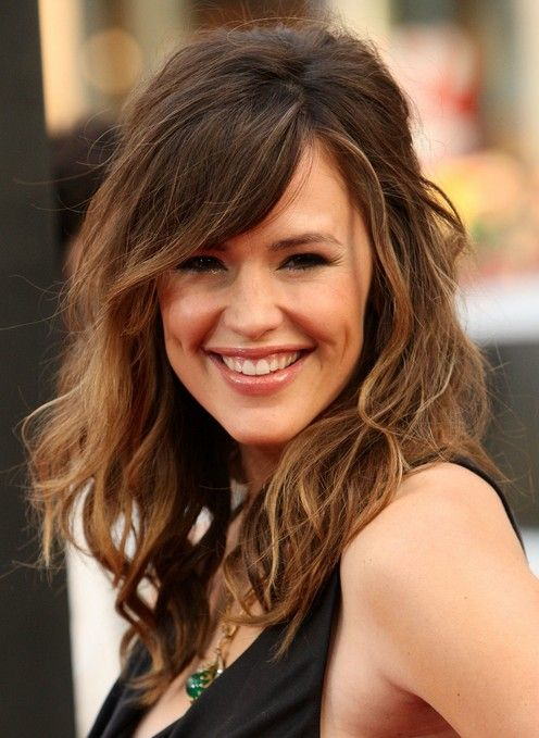 Retro Messy Long Hair with Highlights Jennifer Garner's Hairstyle ...