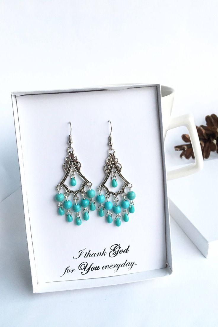 Turquoise Chandelier Earrings Teardrop Clip Ons Posts Lever Backs Women Gift Mom Wife Best Friend Speaker Niece Teacher Birthday Anniversary