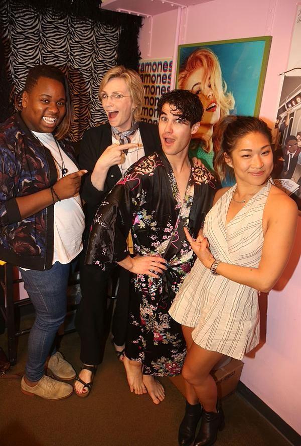 Glee Reunion! Jane Lynch, Jenna Ushkowitz & Alex Newell see Darren Criss at #HedwigOnBway June10,2015!
