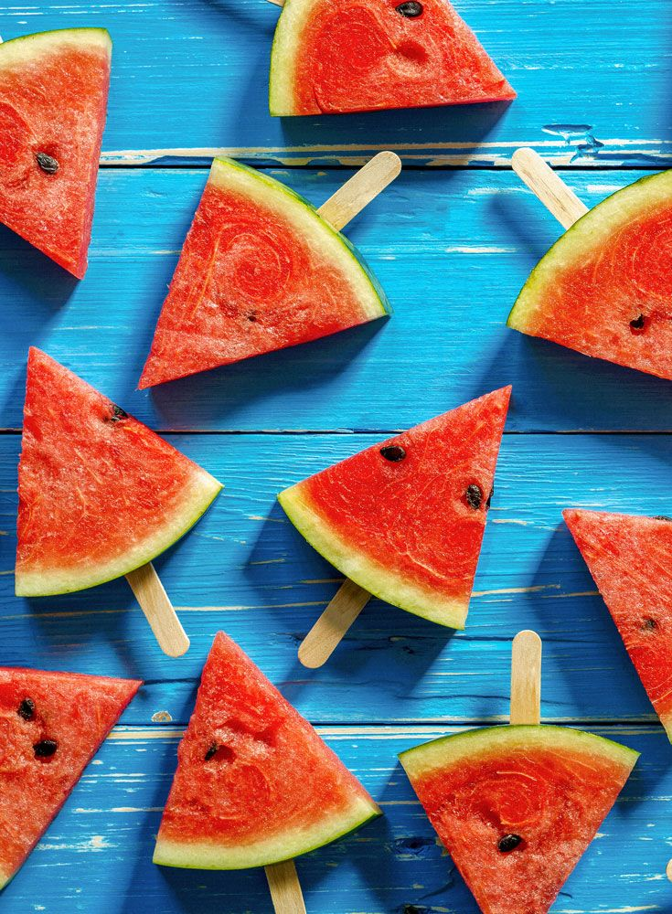 Watermelon slices plus ice lolly sticks makes for an easy recipe and kid friendly. Watermelon is a great way for hydrating kids too due to its large water content.