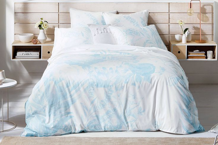 The Playfair SkyDuvet Cover Set by Sheridan plays with a variety of different effects like scale, texture and colour.