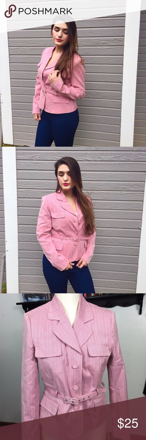 🎁MERONA Pink Safari Jacket/Blazer Used a few times.  In great condition.  Has. Minor stain on the belt.  Barely noticeable Merona Jackets & Coats Utility Jackets
