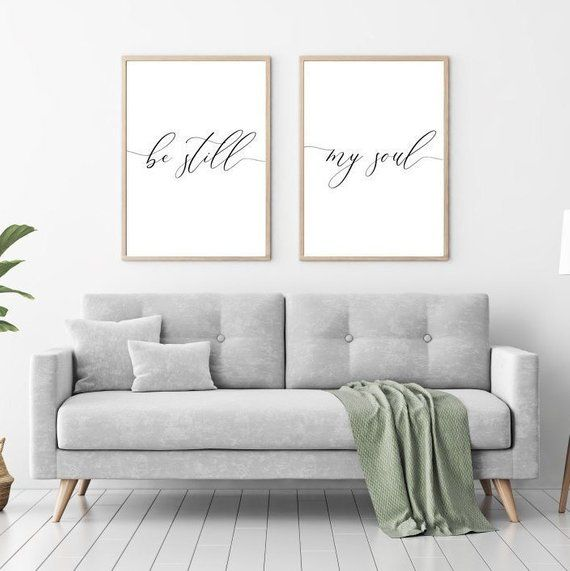 Be Still My Soul Printable Sign Set, Nursery Bedroom Quote
