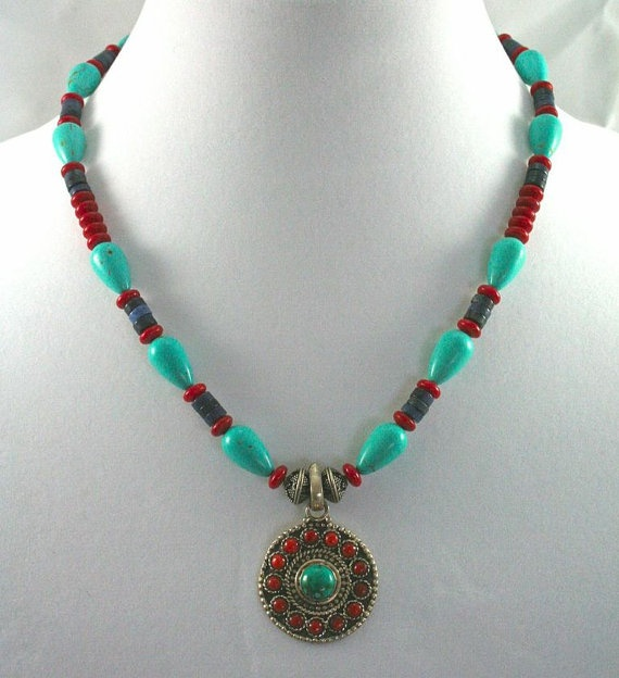 Tibetan Style Turquoise and Coral Necklace by donnaleecreations, $65.00