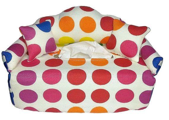 Bunte Punkte Taschentuchbox  Bezug  Tissue Box von KleineSterne