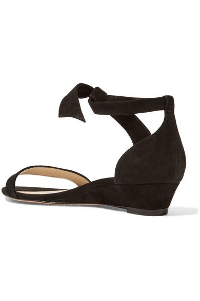 Alexandre Birman - Atena Bow-embellished Suede Wedge Sandals - Black - IT39.5