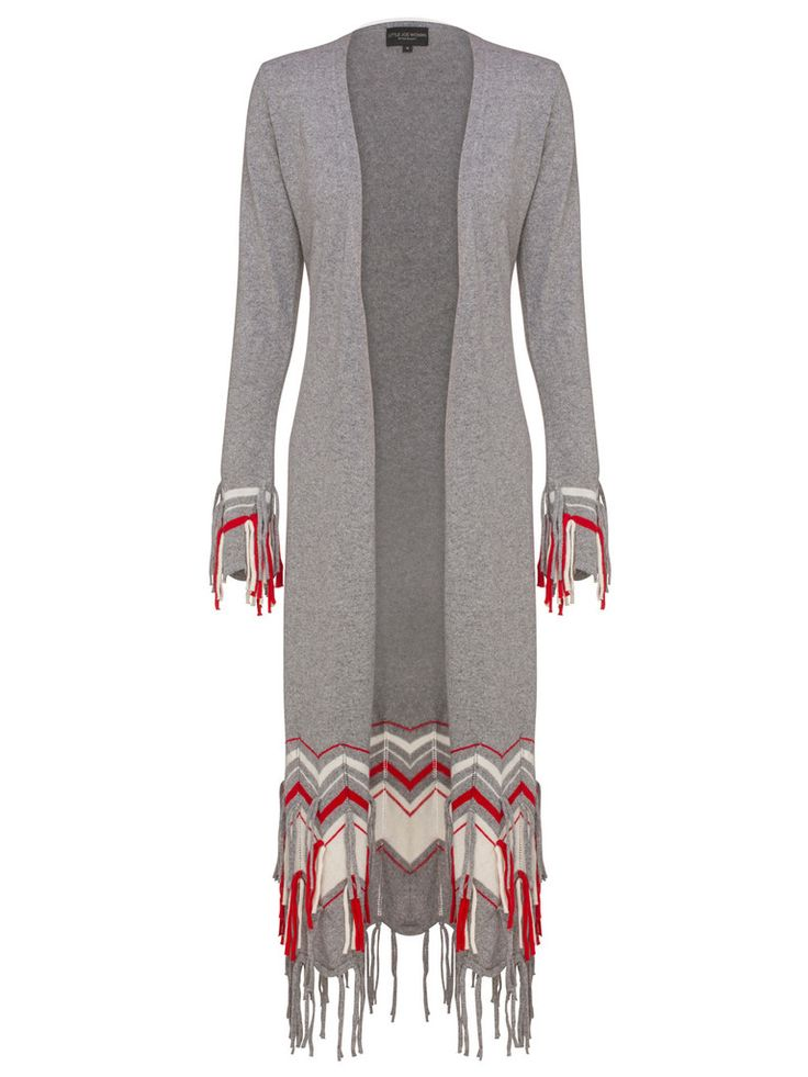 The Altitude Knit is a fun take on the classic floor-length cardigan with tassle detailing at the wrists and hem and contrasting zig-zag pannels at the hem. Looks great paired with leather pants, boots & a tee.   Features:  Made from Viscose Cotton Knit Come in Smoke with contrasting Cream and Rouge pannels.