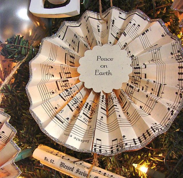 Vintage Hymnal Fan Ornament