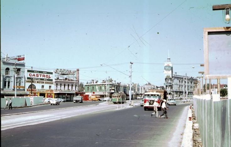 St Kilda Junction, 1960s. Looks like some demolition work has already taken place as part of the widening of the junction.