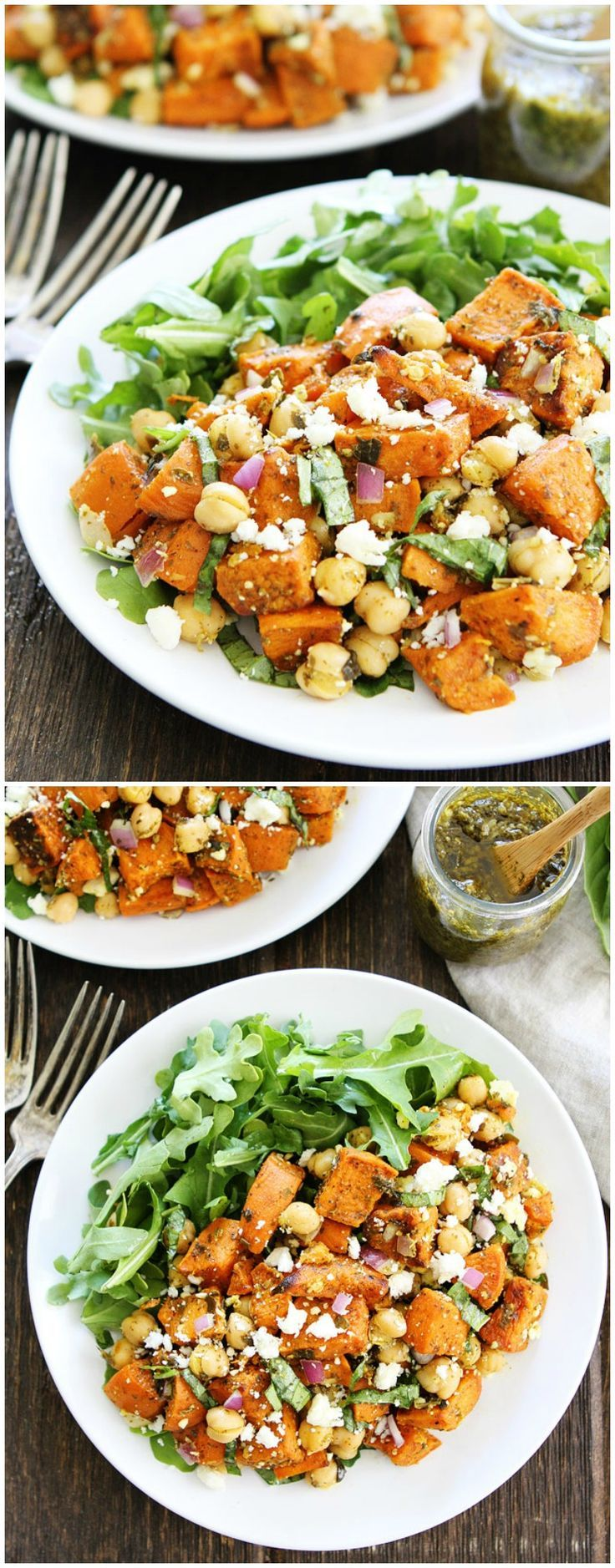 Sweet Potato Chickpea Salad with Pesto Recipe on http://twopeasandtheirpod.com This simple salad is loaded with flavor. Is great served as a side dish or main dish.