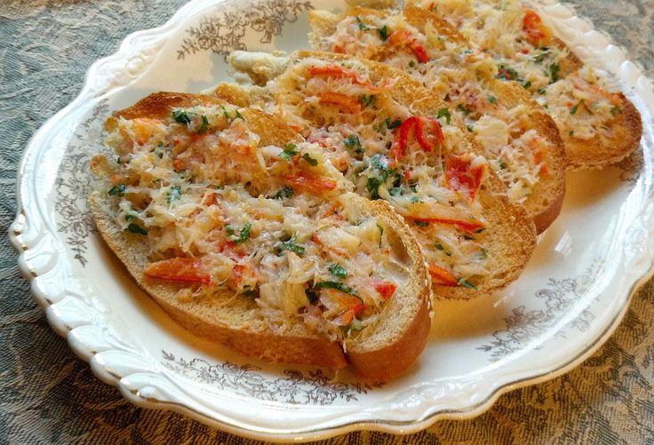 Crab Recipes   Buttery Garlic Crab Bruschetta Recipe -- Italian Crab Meat Appetizer ...