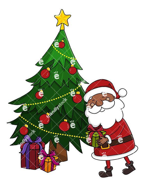 Black Santa Leaving Present Under Christmas Tree Clipart Friendlystock Christmas Tree Clipart Christmas Christmas Vectors