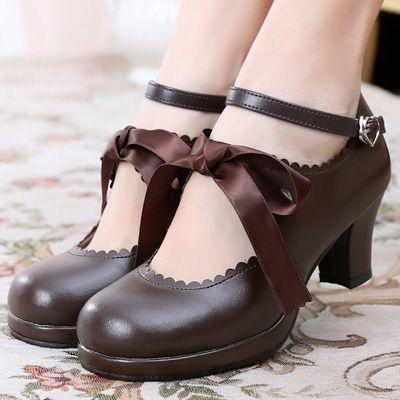 日系lolita洛丽塔JK甜美公主cos可爱丝带女单鞋sosic shop-淘宝网
