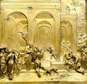 Lorenzo Ghiberti: The Gates of Paradise - metal sculpture. Ghiberti (1378 - 1455), born Lorenzo di Bartolo, was an Italian artist of the early Renaissance best known for works in sculpture and metalworking.