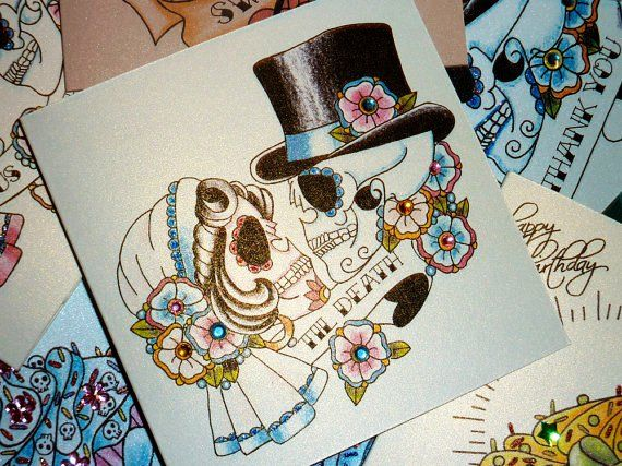 Tattoo Style Bride and Groom Sugar Skull Wedding Card - Inspring Tattoo with Print Tattoo,Pink Tattoo,Blue Tattoo,Wedding Tattoo, Love it!