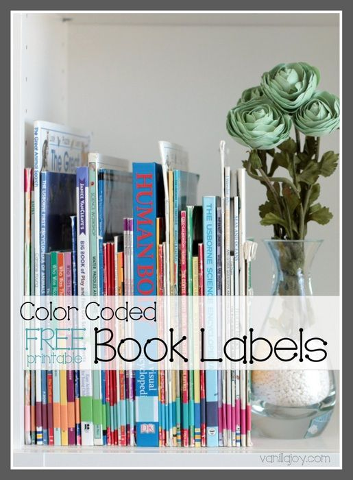 free printable color coded book spine labels for home library