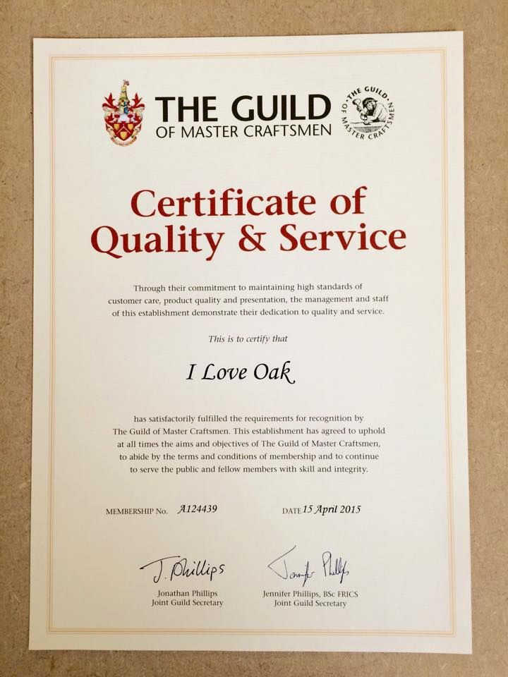Extremely happy to be recognised for our quality and service smile emoticon we are now members of The Guild of Master Craftmen