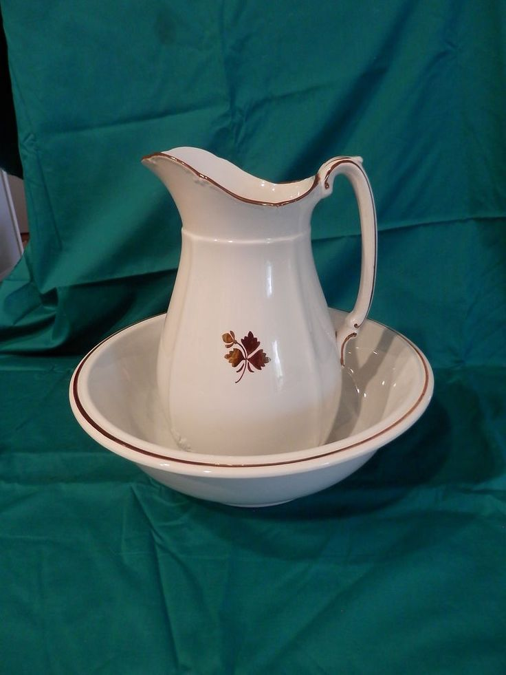 Antique Alfred Meakin Royal Ironstone Copper Lustre Tea Leaf Pitcher and Bowl #AlfredMeakin