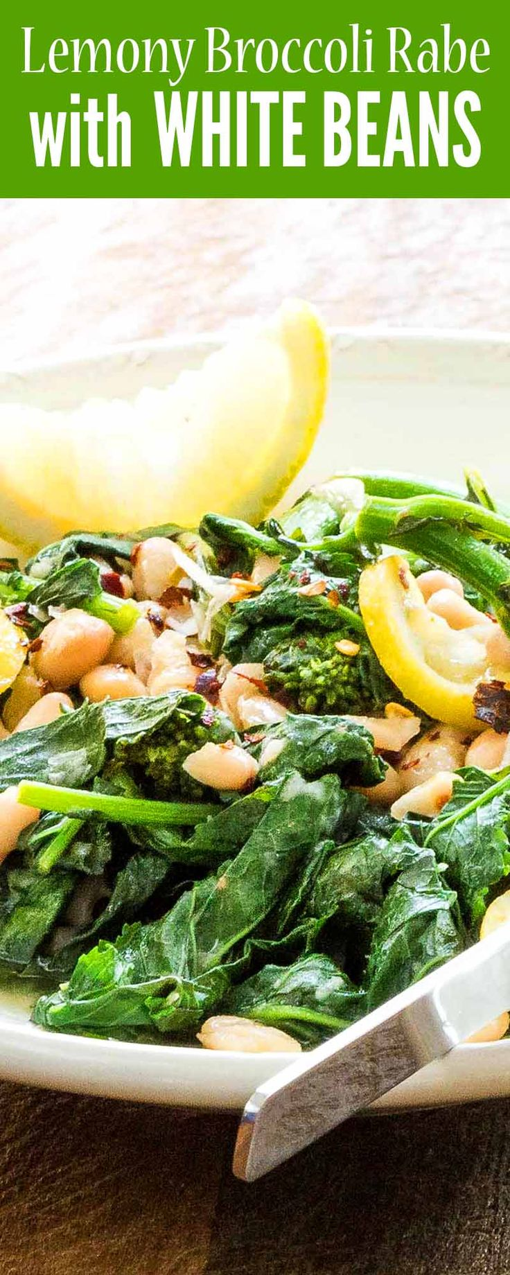 Bright, bitter and creamy, Lemony Broccoli Rabe with White Beans works equally well as a side dish alongside a roasted chicken or as a standalone vegetarian main. #whitebeans #italian #vegetarian #broccolirabe #sidedish