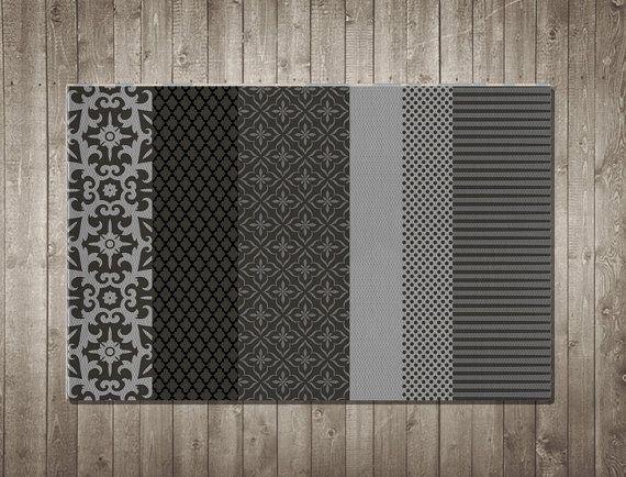 Tappeto moderno munticolor design unico per soggiorno camera da letto bagno decorativo tappeto scuro rosso giallo grigio nero bianco verde by LazyLittleLuckyGirl #italiasmartteam #etsy