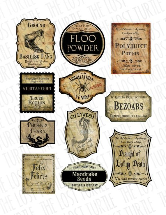 Realistic Handmade Labels Potion Bottle Labels Wizard Party Decoration Apothecary Jar Printabe Game Potion Tags Potions Class Harry Potter Potion Labels Harry Potter Potions Harry Potter Printables