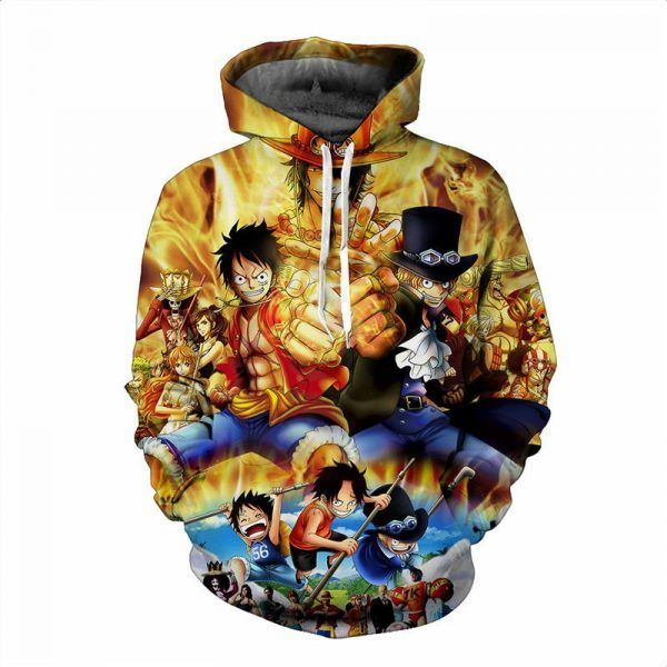 Anime ONE PIECE Hoodies 3D Print Monkey D Luffy Ace Sabo