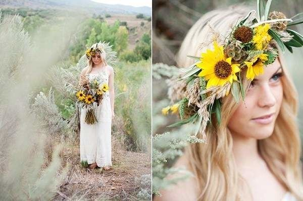 Rustic, wildflower and sunflower flower crown