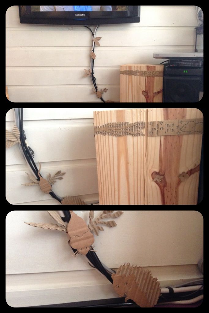 After years of pondering what to do with those ugly cables coming out of my television I finally found the answer: cardboard it into something pretty! This combined with a very pretty old wine chest gave me the opportunity to dispose my old media locker, my livingroom grew instantly again! :-)