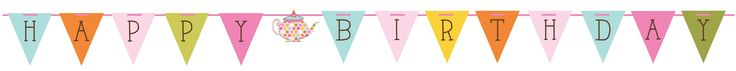 Tea Time Birthday Party Flag Shaped Ribbon Banner (6/case)