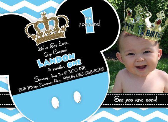 Cumpleaños de príncipe Mickey Mouse invitación por LizzyCakeDesigns