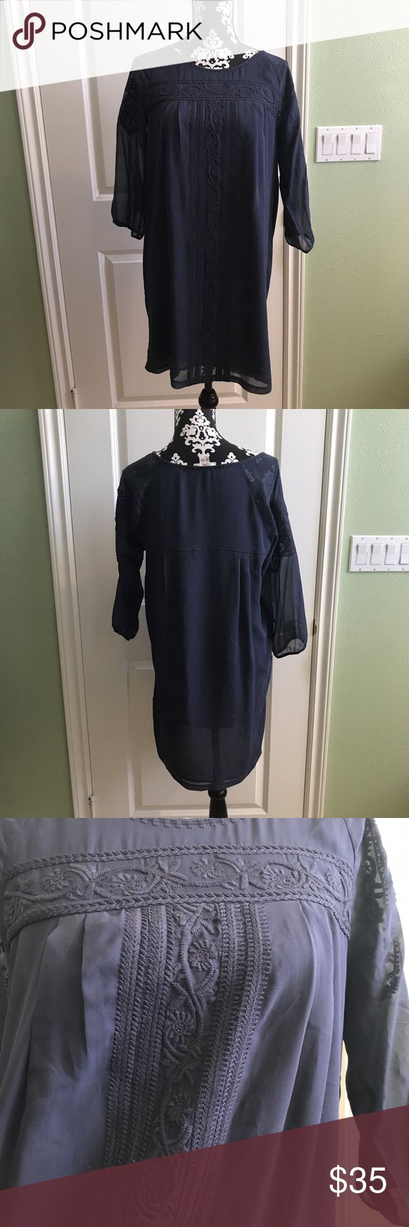 Joie Blue Boho Shift Dress Like new in great pre loved condition no rips stains tears or piling. Lightweight and comfortable Joie Dresses Midi