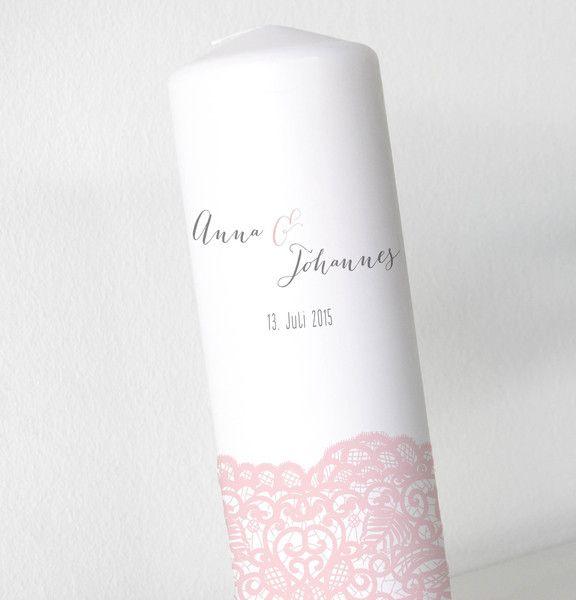 Hochzeitskerze - mit bedruckter Spitzenborte von Kreative Papeterie für Hochzeit, Geburt und Geburtstag! auf DaWanda.com