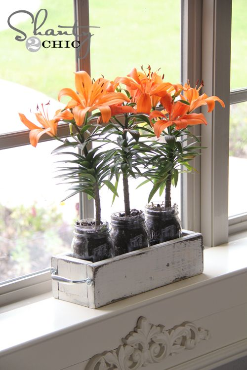 Mason Jar Planter Box.