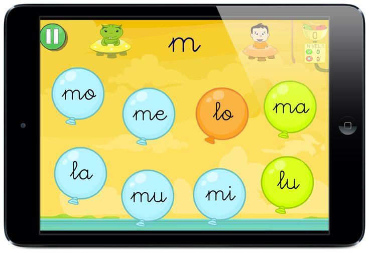 Juegos para aprender a leer sílabas letra enlazada globos