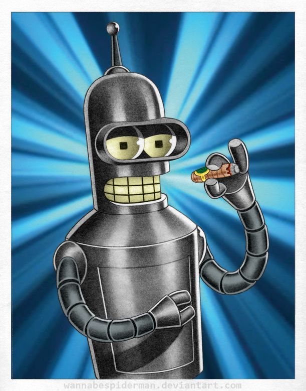 "Neat traditional (kinda retro style) art of ""Bender B. Rodriguez"" by WannabeSpiderMan 