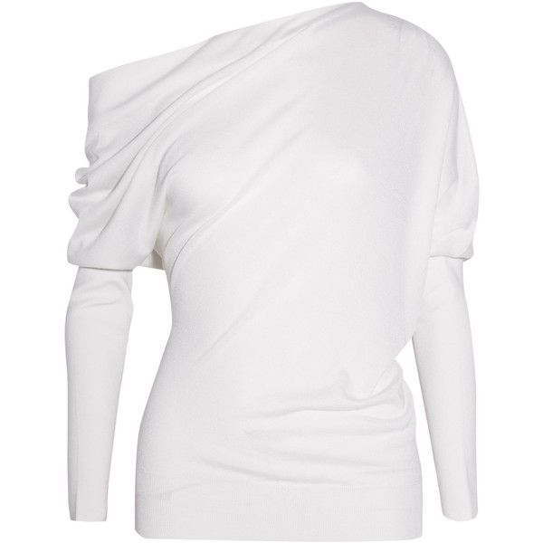 TOM FORD One-shoulder cashmere and silk sweater found on Polyvore featuring tops, sweaters, white sweater, one shoulder tops, white cashmere sweater, ivory sweater and pure cashmere sweaters