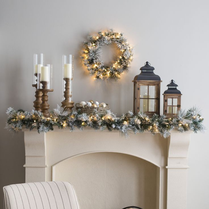 24 in. Classic Flocked Needle Pre-Lit Wreath | from hayneedle.com