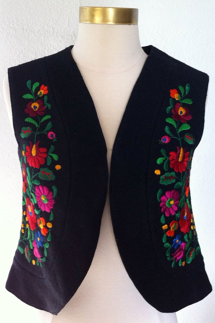 Hungarian Vest, Embroidery, Short Black Wool Vest hand embroidered, Ethnic 1970s.. $150.00, via Etsy.