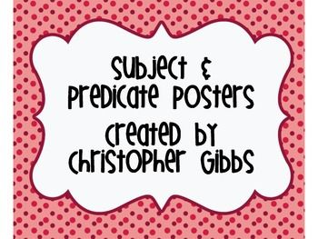 This purchase contains posters and examples of subjects and predicates. It also…