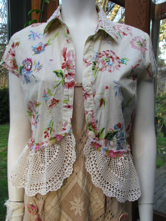 Boho Blouse, Altered Couture, Shabby Chic, Upcycled Clothing,