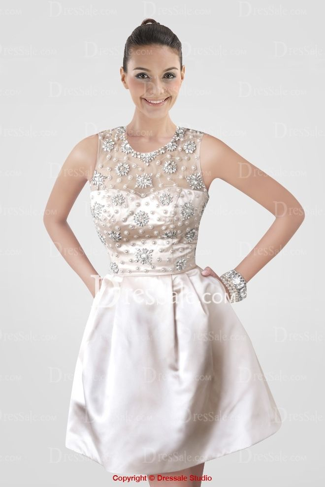 Luxurious Illusion Neckline Short Graduation Dress with Appliqued Bodice and Pockets