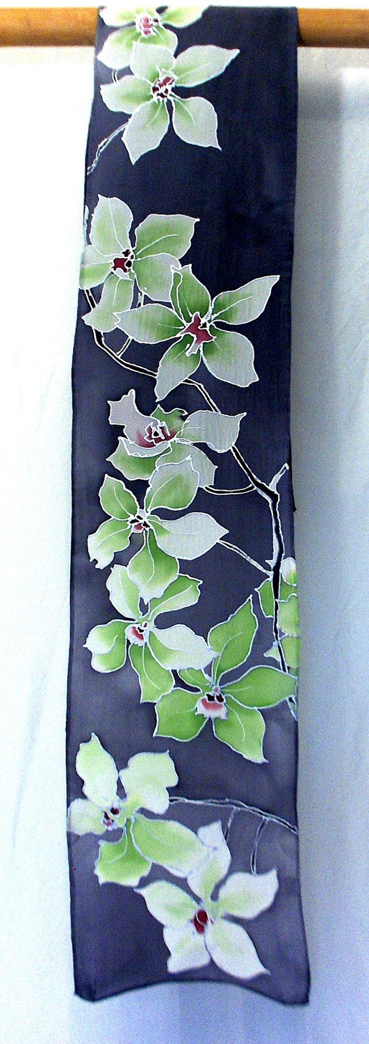 Silk Scarf. Hand painted. Ice Green Orchids Gray Scarf. French Silk Dye. 8x54 in. Gray Silk Scarf. Made to order.. $82.00, via Etsy.