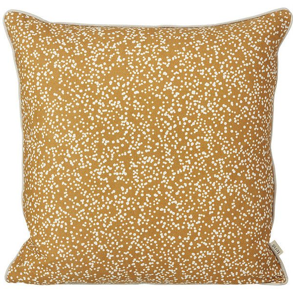 Ferm Living Dottery Pillow - Curry ($65) ❤ liked on Polyvore featuring home, home decor, throw pillows, yellow, yellow toss pillows, patterned throw pillows, ferm living, yellow accent pillows and yellow home decor