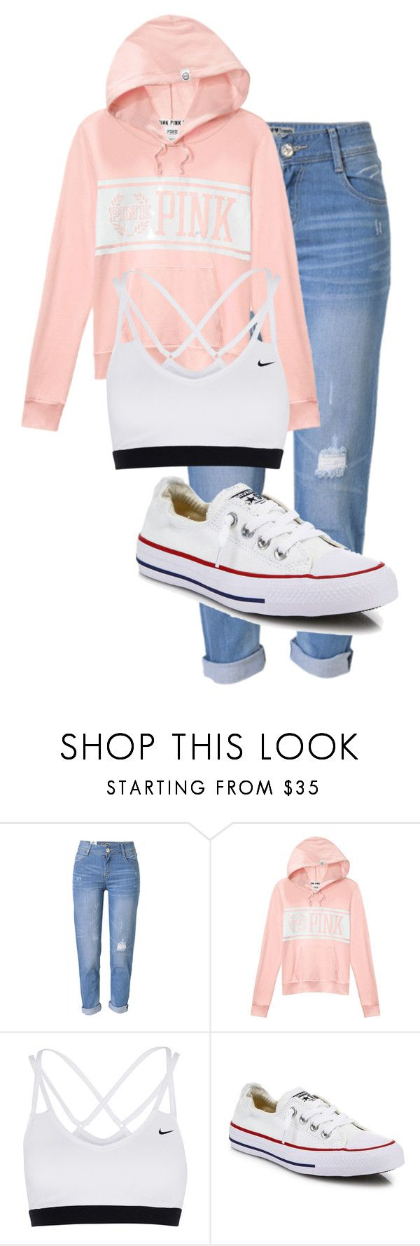 """""""School Outfit"""" by chloefaust on Polyvore featuring WithChic, Victoria's Secret, NIKE and Converse"""