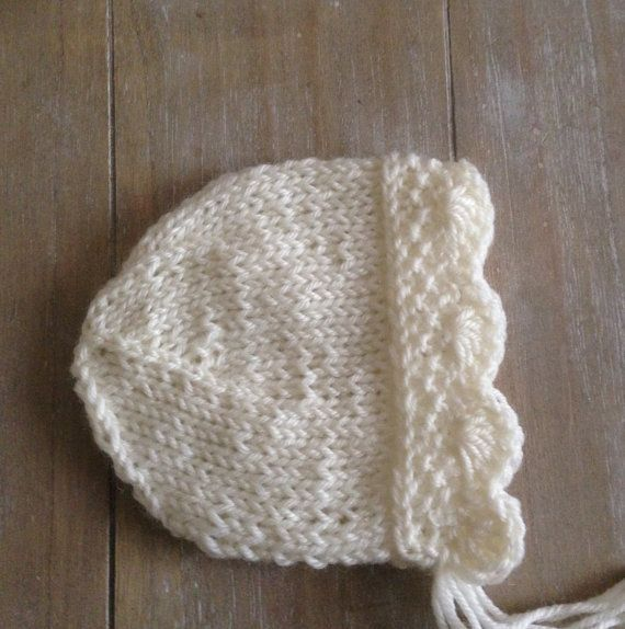 Newborn Photo pros baby girl knit bonnet/Newborn girl and newborn boyhat /Vintage style knit white color
