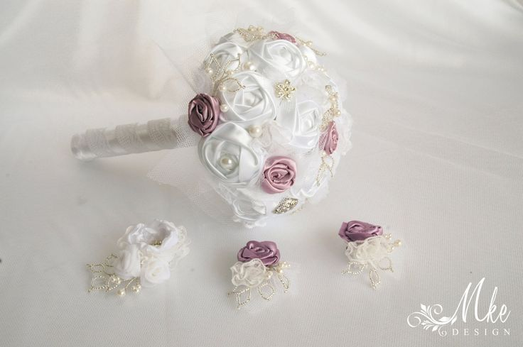 Fabric white and mallow wedding bouquet collection with lace, tulle, satin, silver pearls brooch, button by MkeFlower on Etsy