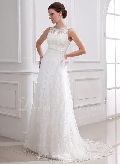 Corte A/Princesa Escote redondo Barrer/Cepillo tren Satén Tul Vestido de novia con Encaje Bordado (002004543)