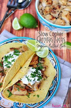 Slow Cooker Carnitas Tacos (or Mexican Pulled Pork) ~ perfect for taco night or Cinco de Mayo; also delicious as filling for burritos, enchiladas, quesadillas, and more! | FiveHeartHome.com